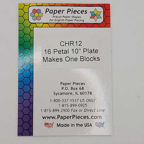 16 Petal 10 inch plate makes one Block