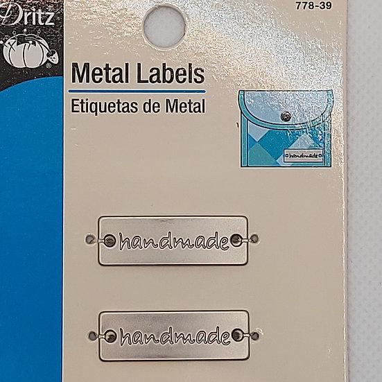 "Label ""handmade"" 2 stuks metaal"