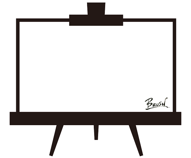 BRUSHのメッセージ入りイーゼルとロゴ
