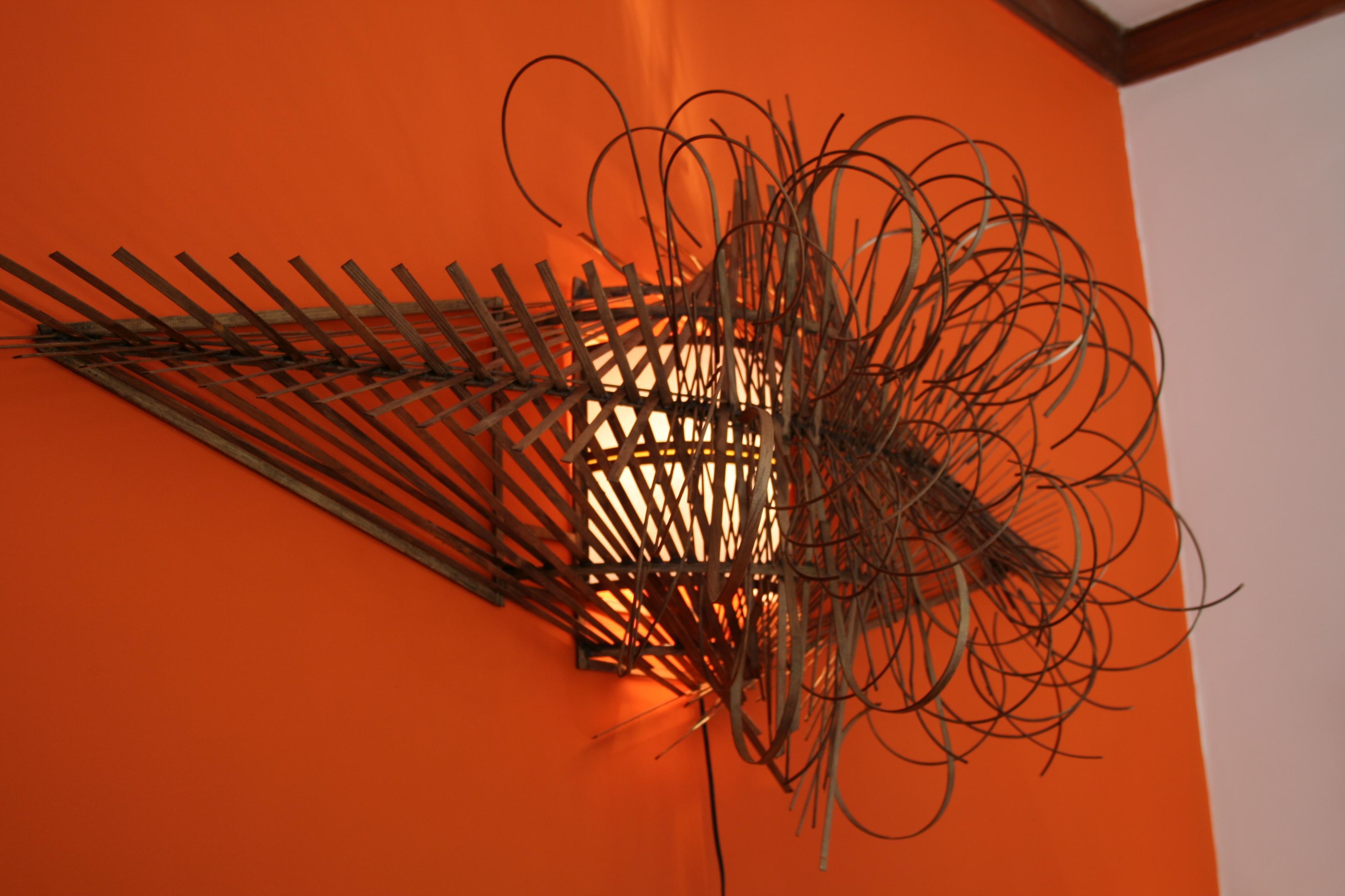 Local artist wooden lamp