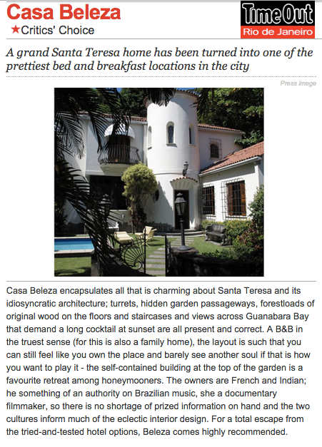 Guest House Rio de Janeiro Bed and Breakfast Time Out Magazine