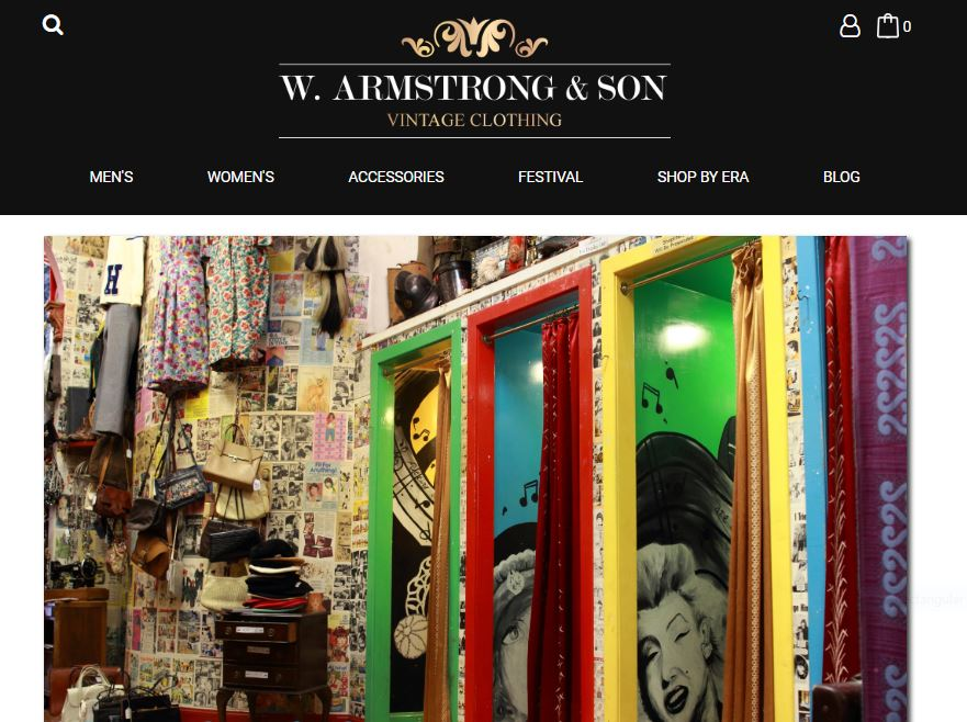 Web content for Armstong's Vintage Emporium