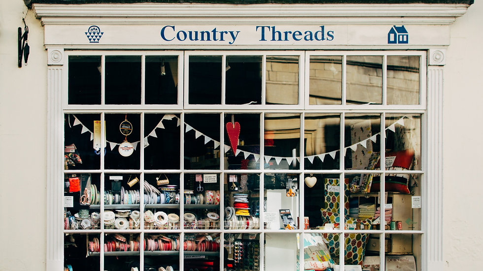 Front window of Country Threads, patchwork and quilting shop in Bath, UK