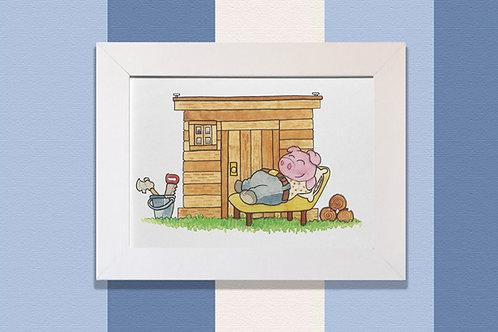 Cerdito en casa de madera