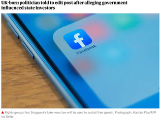 Singapore invokes 'fake news' law for first time over Facebook post.