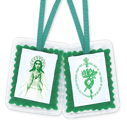 Green Laminated Scapular with Pamphlet