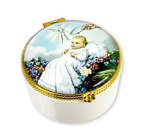 Baptism Porcelain Rosary Keepsake Box