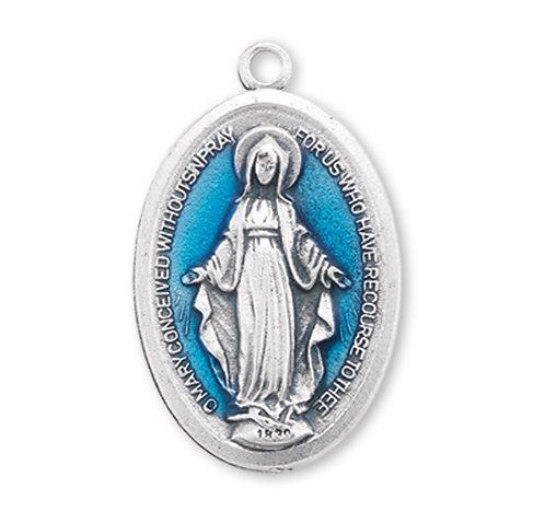 Blue Enameled Miraculous Medal