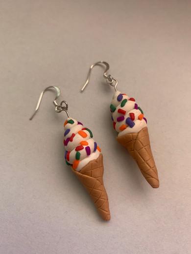 """""""Rainbow Sprinkles Cone Earrings"""""""