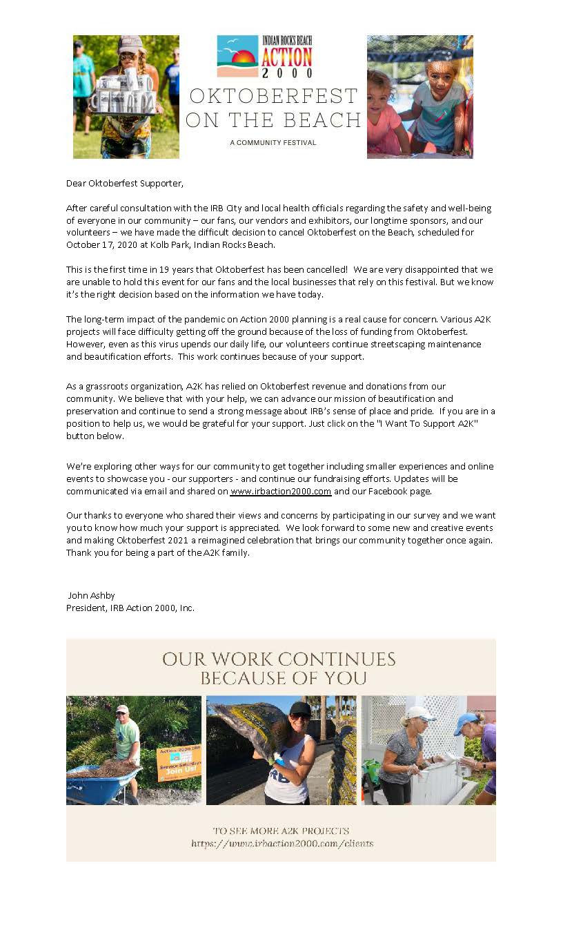 Oktoberfest cancellation letter for A2K