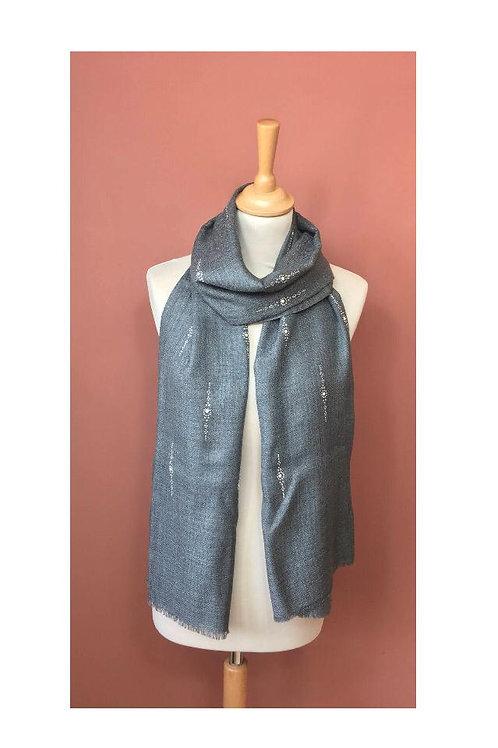 Echarpe soie et laine avec strass
