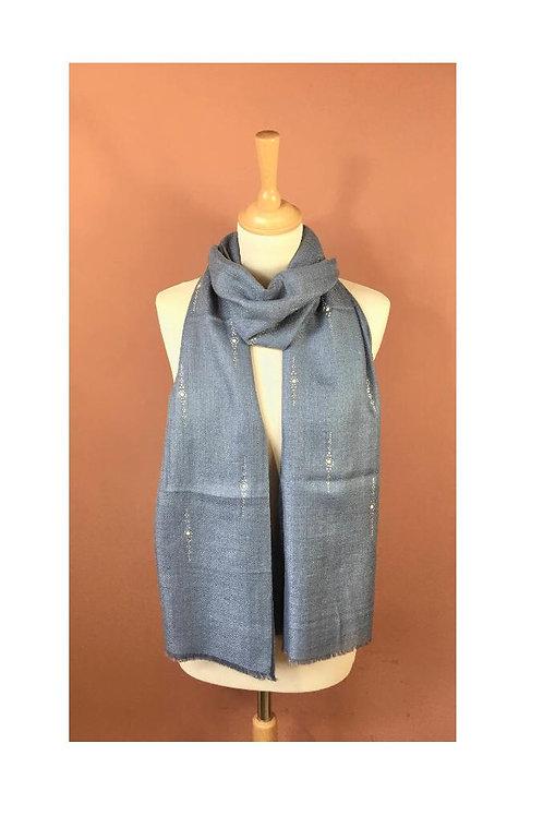 Écharpe soie et laine avec strass