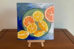 """Lemons on a plate    6 x 6"""""""