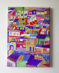 """Whimsical Busan    Canvas 10 x 14"""""""