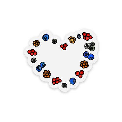 Clear Berry Heart Sticker