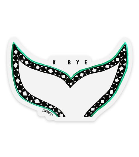 K Bye Whale Tail Clear Sticker