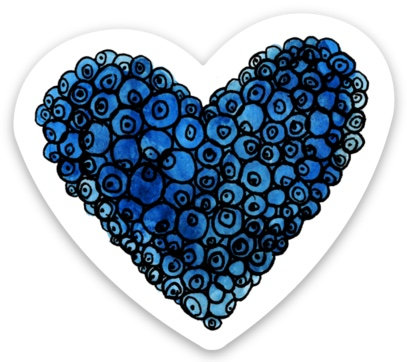 Blueberries Heart Sticker
