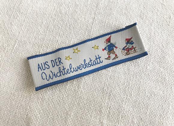 Webetikett Aus der Wichtelwerkstatt blau