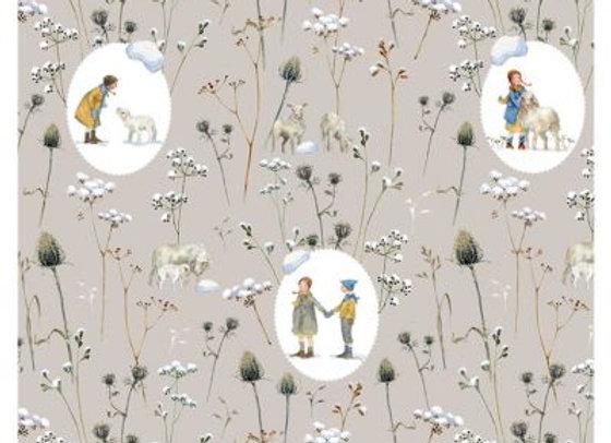 Acufactum Baumwollstoff Ovale Winterkinder + Schafe