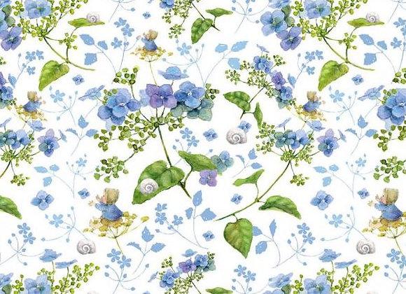 Acufactum Baumwollstoff Hortensientraum blau