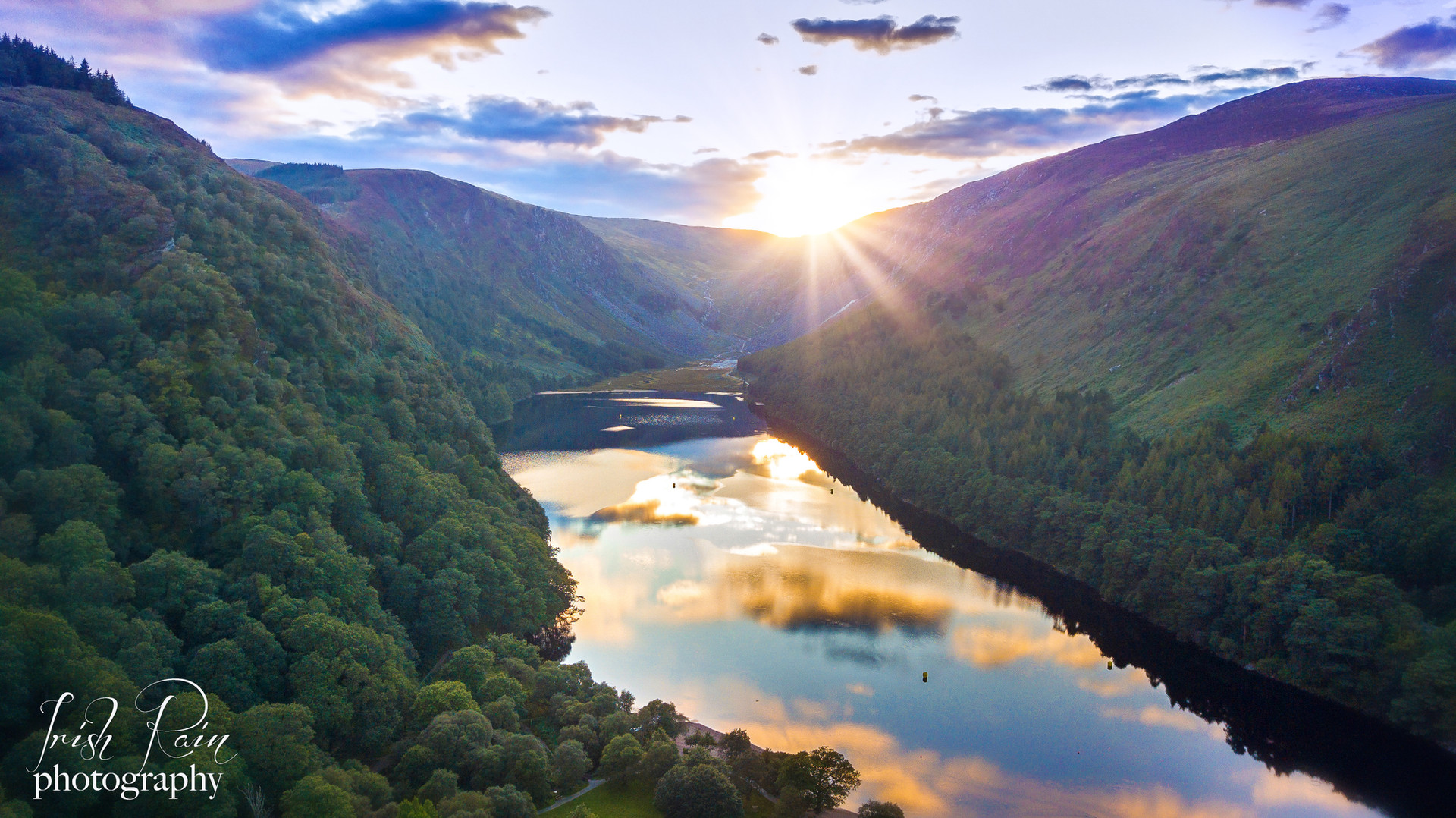 drone insta glendalough ireland sunset m