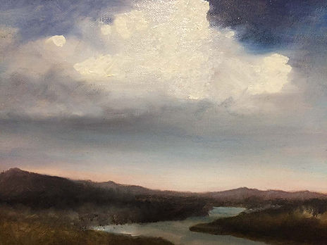 "Oil painting, ""Nuage (Cloud)"" by Jacinta O'Brien, 9""x12"""