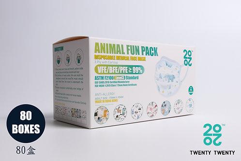 TWENTY TWENTY Disposable Face Mask-Animal Fun Pack-ASTM LV3  80盒