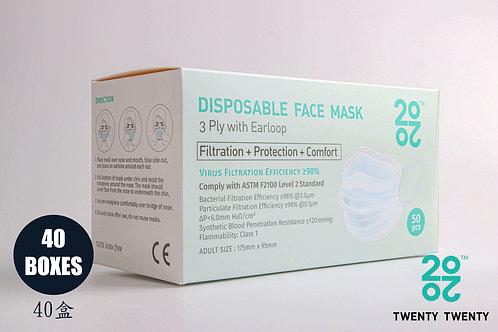 TWENTY TWENTY  Disposable Face Mask-ASTM LV2 40 boxes * Exclusive