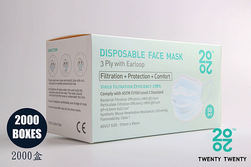 TWENTY TWENTY Disposable Face Mask-ASTM LV2-2000 boxes * Exclusive