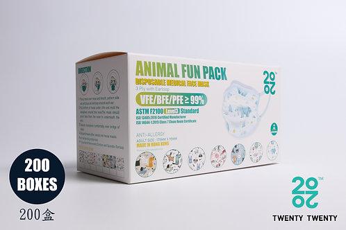 TWENTY TWENTY Disposable Face Mask-Animal Fun Pack-ASTM LV3  200盒