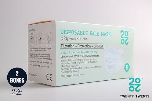 TWENTY TWENTY  Disposable Face Mask-ASTM LV2 2 boxes (no logo)* Exclusive
