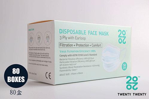 TWENTY TWENTY Disposable Face Mask-ASTM LV2-80 boxes * Exclusive