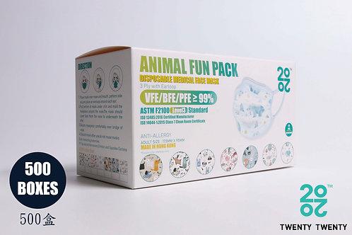 TWENTY TWENTY Disposable Face Mask-Animal Fun Pack-ASTM LV3  500盒
