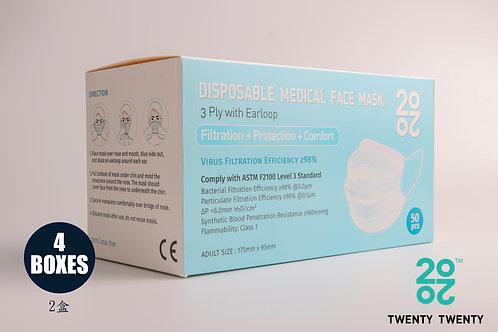 TWENTY TWENTY Disposable Face Mask-ASTM LV3 4 boxes