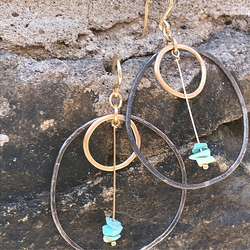 Argentium Silver & Gold hoops w/ Turquoise