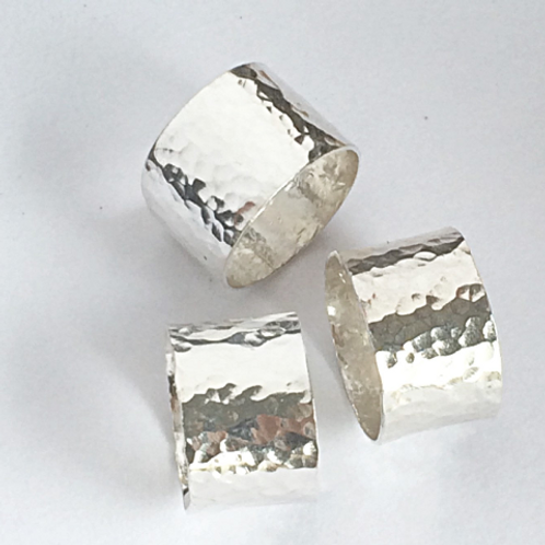 Wide Silver Hammered Ring