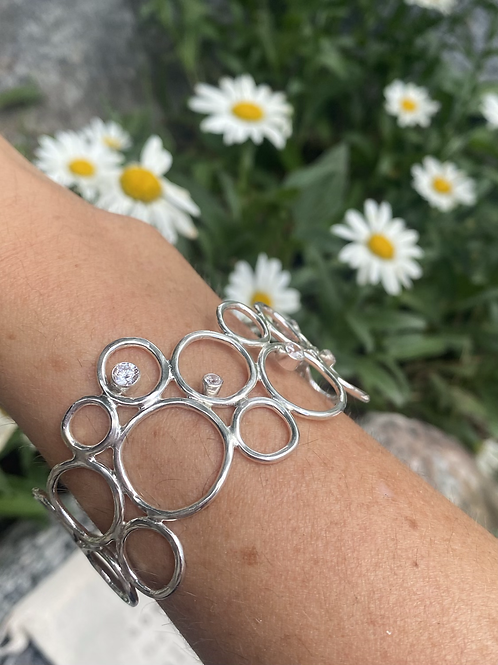 Bubble Cuff Bracelet with CZ Wave