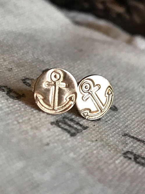 Gold Stud Earrings - Anchor