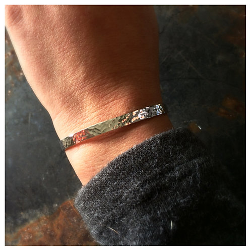 WHSL Thin Sterling Silver Hammered Cuff Bracelet or Stacking Bracelets