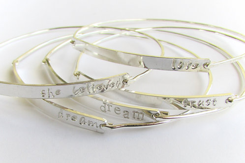 Sterling Silver Name/Word Bangles