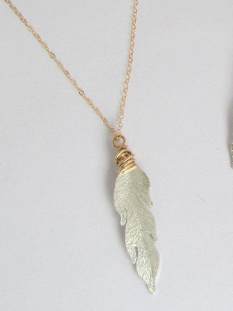 Mixed Metal Silver and Gold Boho Feather Necklace