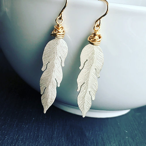 Silver and Gold Feather Boho Earrings