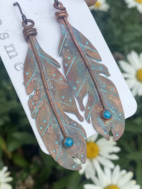Copper Feathers with Turquoise Stones