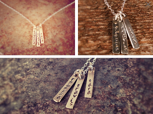 Custom, Personalized Mother's Name Stamped Sterling Silver Necklace