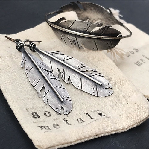 WHSL Feather Earrings Argentium & oxidized