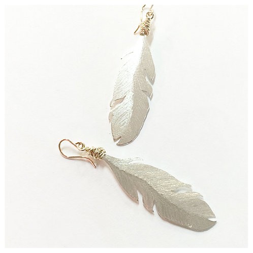 Argentium Silver and Gold Boho Feather Earrings