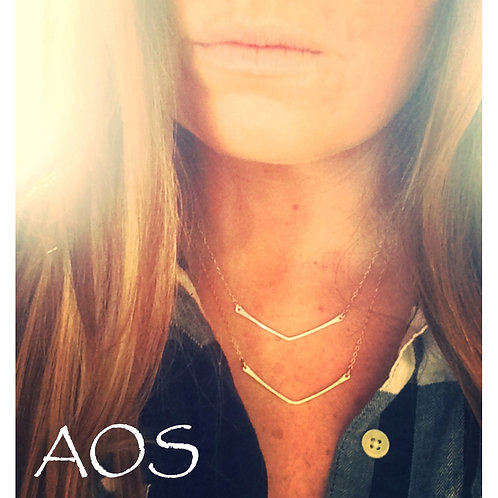 Argentium Silver Chevron Bar Necklace