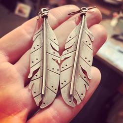Argentium Feathers Oxidized