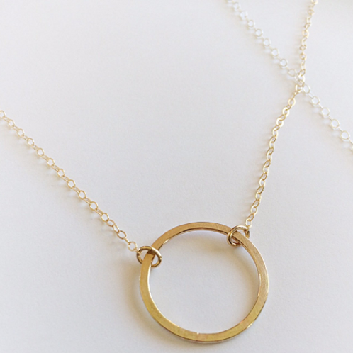 Gold and Argentium Silver Hammered Circle Geometric Necklace
