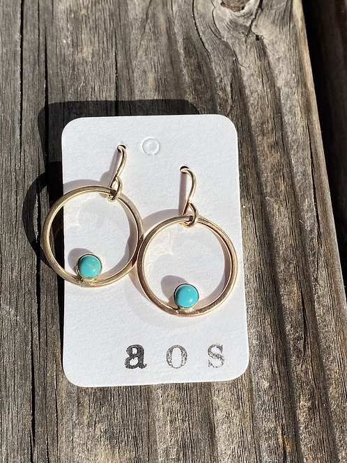 Gold & Turquoise Hoops